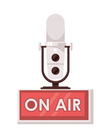 radio microphone retro with on air label vector illustration design