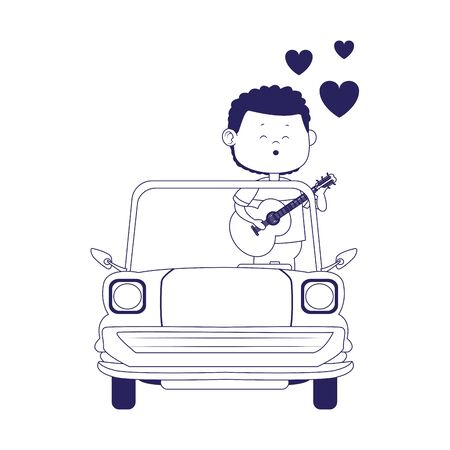 classic car with man singing over white background, flat design, vector illustration Иллюстрация