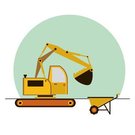 excavator construction machine vehicle icon vector illustration design Illustration
