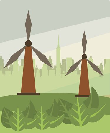 wind power turbine alternative energy vector illustration design