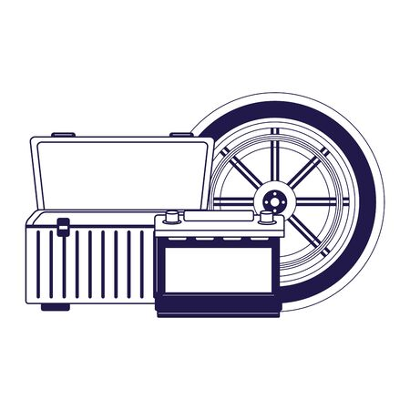 car tire with empty tools box and car battery over white background, flat design, vector illustration Stock Illustratie