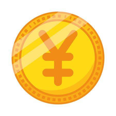 yen coin money isolated icon vector illustration design