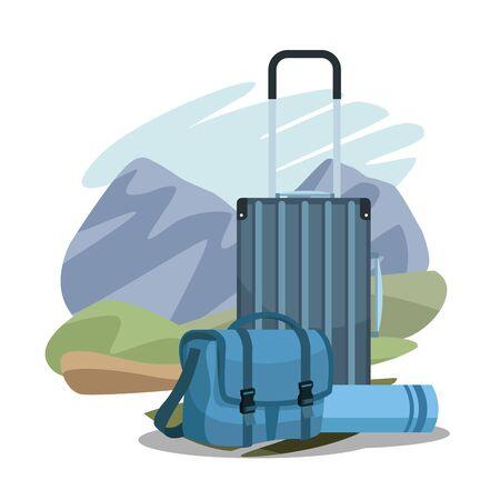 travel suitcases over landscape and sleeping bag over landscape and white background, colorful design, vector illustration