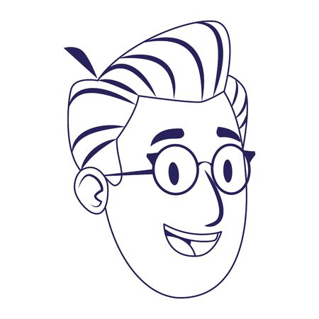 cartoon man with glasses icon over white background, flat design, vector illustration