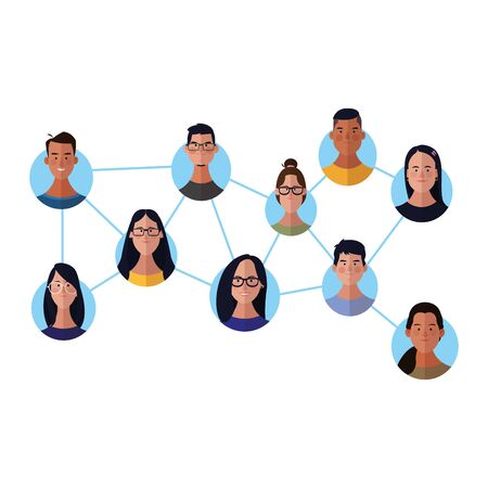 People network face cartoons round icons vector illustration graphic design