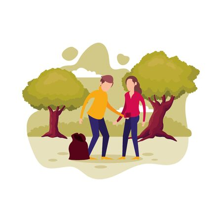 couple with plastic garbage bag vector illustration design Ilustração