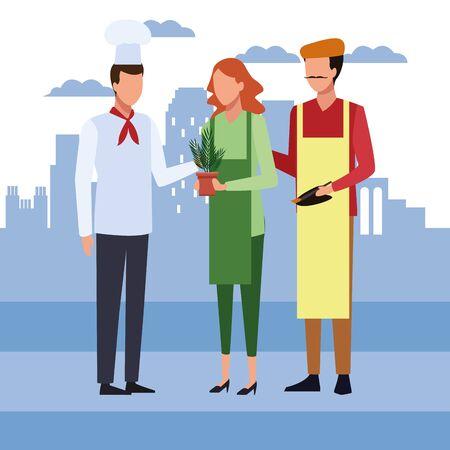 chef man with artist couple standing over city urban background, colorful design, vector illustration Ilustración de vector