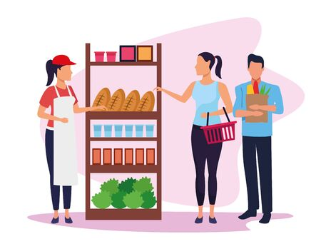 avatar supermarket worker helping a customers at stand with groceries over white background, colorful design , vector illustration