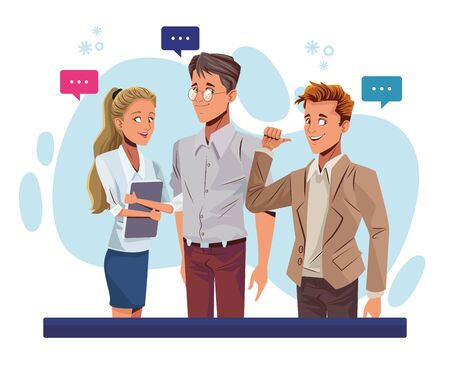 young business people talking workers characters vector illustration design