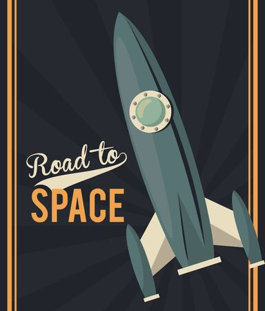 life in the space poster with rocket start up vector illustration design