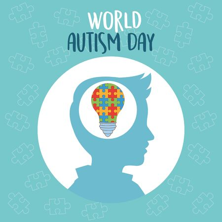world autism day with profile and bulb puzzle vector illustration design