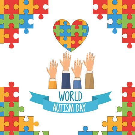 world autism day with hands and puzzle heart vector illustration design