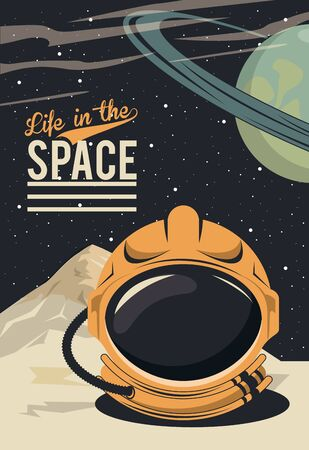 life in the space poster with astronaut helmet vector illustration design Ilustrace