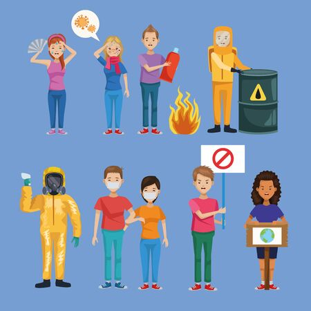 group of people environmentalists and workers vector illustration design