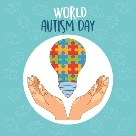 world autism day with hands lifting puzzle bulb vector illustration design