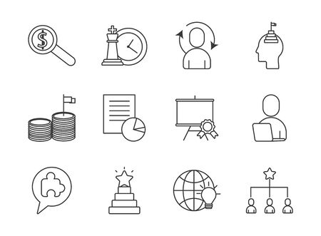 bundle of business success icons vector illustration design Ilustrace