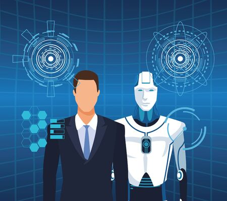 artificial intelligence technology man and cyborg into virtual reality vector illustration