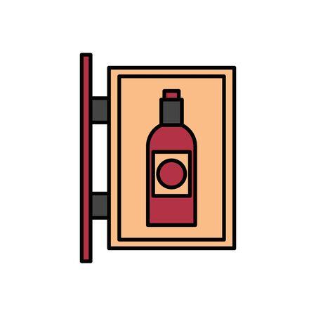 wine bottle drink label hanging vector illustration design Ilustração