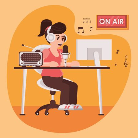 international radio day poster with female announcer vector illustration design Vettoriali