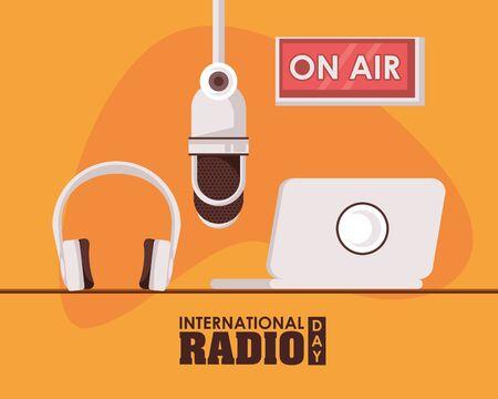 international radio day poster with laptop vector illustration design Illustration