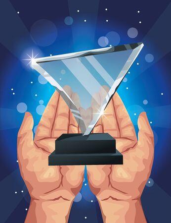 films award glass triangle trophy vector illustration design