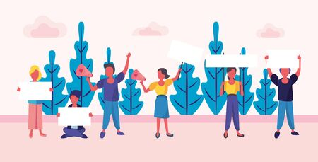 group of activist people protesting in the camp vector illustration design