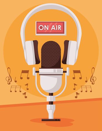 international radio day poster with microphone and headset vector illustration design