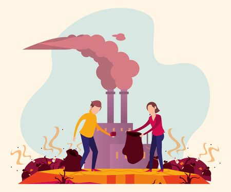 global warming alert with people and polluting factory vector illustration design Illustration