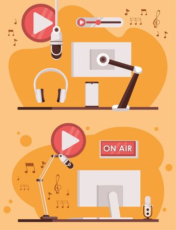 international radio day poster with monitors computers vector illustration design