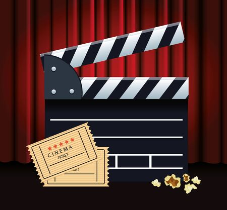 clapboard and movie tickets over Red cinema curtains background, colorful design, vector illustration Çizim