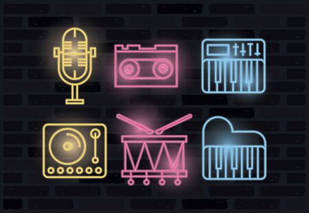 bundle of icons neon lights vector illustration design