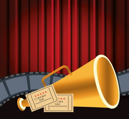 directors chair and cinema tickets over Red cinema curtains background, colorful design, vector illustration