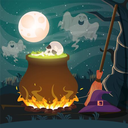 halloween dark scene with cauldron and skull vector illustration design