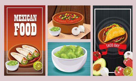 Delicious Mexican Food sets designs, vector illustration