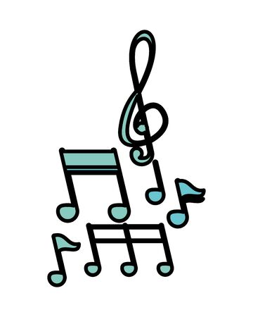 music notes audio isolated icon vector illustration design