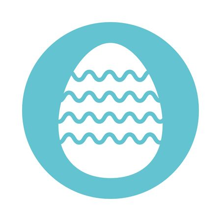easter egg painted with waves stripes block style vector illustration design