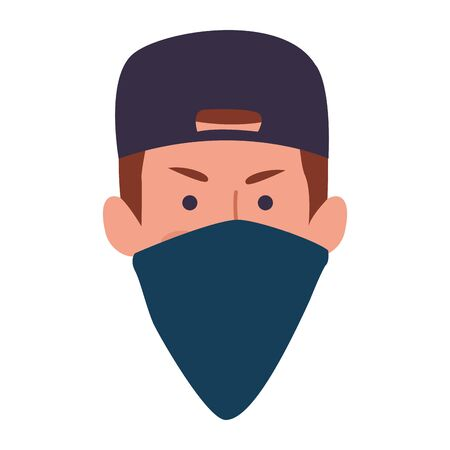 cartoon man face with cap and mask bandana over white background, colorful design, vector illustration