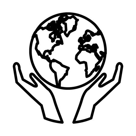 hands with world planet earth vector illustration design