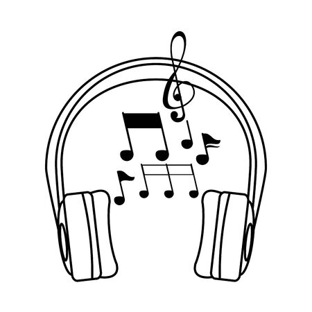 earphones audio device with music notes vector illustration design Иллюстрация