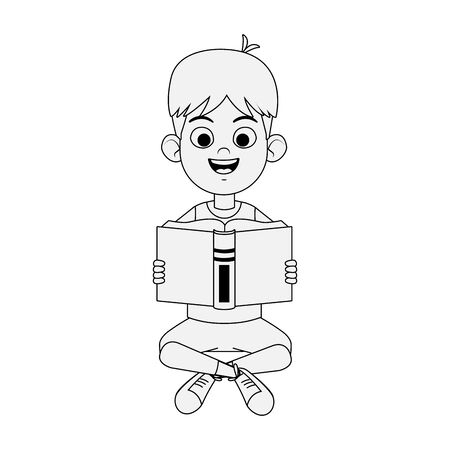 Happy boy sitting reading a book over white background, vector illustration