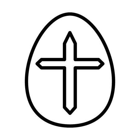 easter egg painted with cross religious line style vector illustration design Ilustração