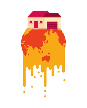 world planet melting global warming with house vector illustration design  イラスト・ベクター素材