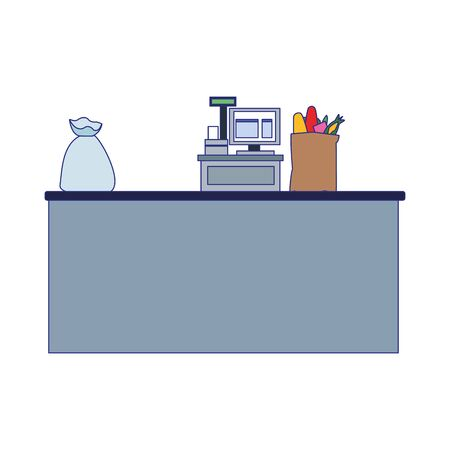 supermarket counter with register cash and bags icon over white background, vector illustration