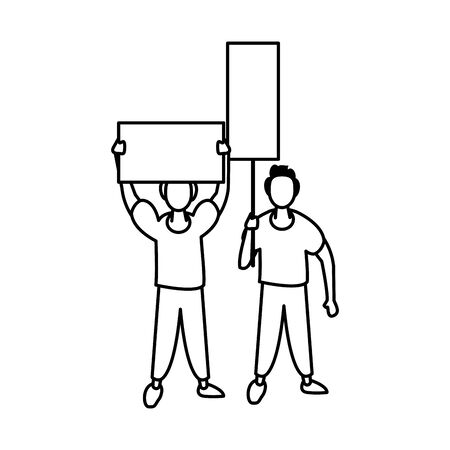 activists men with protest banners vector illustration design