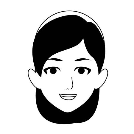 adult woman face icon over white background, vector illustration