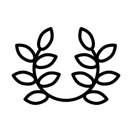 wreath leafs crown line style icon vector illustration design