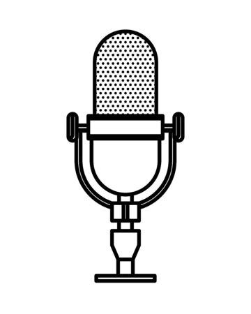 radio microphone retro isolated icon vector illustration design