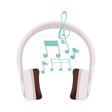 earphones audio device with music notes vector illustration design Vektorové ilustrace
