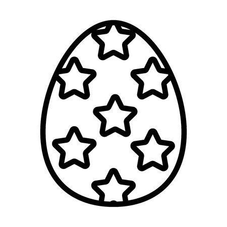 easter egg painted with stars line style vector illustration design Ilustração