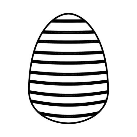 easter egg painted with stripes flat style vector illustration design